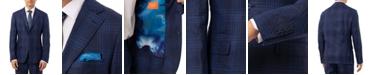 Tallia Men's Slim-Fit Blue Plaid Linen Suit Separate Jacket