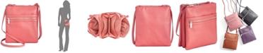 Giani Bernini Triple-Zip Pebble Leather Dasher Crossbody, Created for Macy's