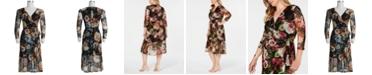 Connected Plus Size Floral Mesh Wrap Midi Dress