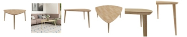 Handy Living Rhodes Modern Triangular Shaped Wood Cocktail Table
