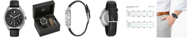 Bulova LIMITED EDITION Men's Special Edition Lunar Pilot Chronograph Black Leather Strap & Nylon Strap Watch 45mm 96B251