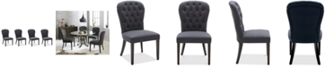 Furniture Caspian Upholstered Round Back Dining Chairs, Set of 4, Created for Macy's