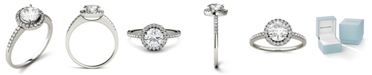 Charles & Colvard Moissanite Round Halo Ring (1-1/3 ct. t.w. Diamond Equivalent) in 14k Gold or White Gold or Rose Gold