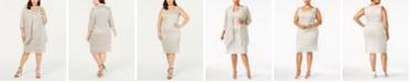 R & M Richards R&M Richards Plus Size Sleeveless Metallic Dress and Jacket