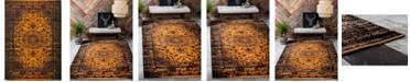 Bridgeport Home Linport Lin4 Orange 7' x 10' Area Rug