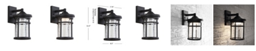 """JONATHAN Y Campo 11.5"""" Outdoor Wall Lantern Crackled Glass/Metal Integrated LED Sconce"""