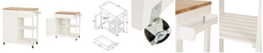 Glitzhome Wooden Basic Kitchen Cart with 1 Drawer and 1 Door Plus 2 Tier