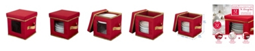Simplify Holiday Saucer Plate Dinnerware Storage Box with 12 Felt Dividers
