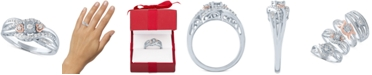 Promised Love Diamond Promise Ring (1/4 ct. t.w.) in Sterling Silver & 14k Rose Gold-Plate