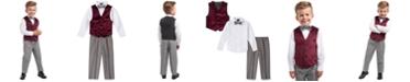 Nautica Little Boys Regular-Fit 4-Pc. Burgundy Velvet Vest Set
