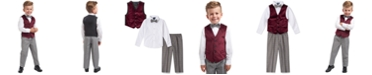 Nautica Little Boys Regular-Fit 4-Pc. Burgundy Velvet Vest Set