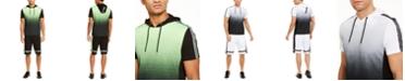 INC International Concepts INC Men's Regular-Fit Dip-Dyed Graffiti Tape Hooded T-Shirt & Drawstring Shorts, Created For Macy's