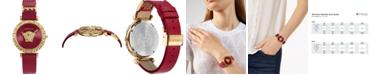 Versace Women's Swiss Palazzo Empire Greca Red Leather Strap Watch 37mm