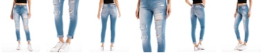 Kancan Mid Rise Distressed  Ankle Skinny with Double Fold Hem