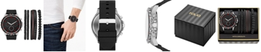 Folio Men's Black Silicone Strap Watch 50mm Gift Set