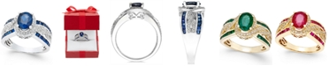 Macy's Sapphire (2-3/4 ct. t.w.) and Diamond (1/3 ct. t.w.) Ring in 14k White Gold (Also Available in Emerald & Ruby)