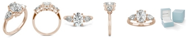 Charles & Colvard Moissanite Oval Three Stone Ring (3 ct. tw. Diamond Equivalent) in 14k Rose Gold