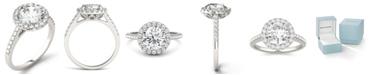 Charles & Colvard Moissanite Round Halo Ring (2-1/3 ct. tw. Diamond Equivalent) in 14k White Gold
