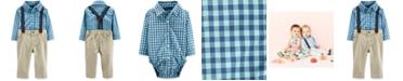 Carter's Baby Boys 2-Pc. Cotton Plaid Bodysuit and Suspender Jeans Set