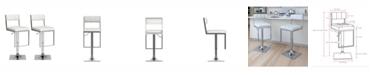CorLiving Square Tufted Leatherette Adjustable Barstool, Set of 2