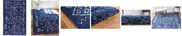 Bridgeport Home Fazil Shag Faz1 Navy Blue 5' x 8' Area Rug
