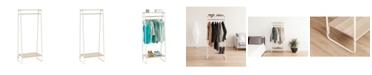 IRIS USA Metal Garment Rack With 2 Wood Shelves