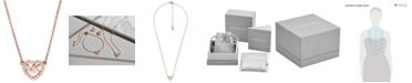 "Michael Kors Sterling Silver Crystal Heart Logo Pendant Necklace, 16"" + 2"" extender"