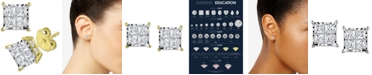 TruMiracle Diamond Princess Cluster Stud Earrings (1 ct. t.w.) in 14k White, Yellow or Rose Gold