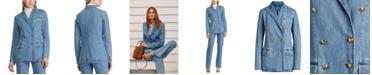 Lauren Ralph Lauren Double-Breasted Cotton Denim Blazer