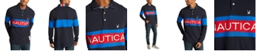 Nautica Men's Classic-Fit Blue Sail Chest Logo Long Sleeve Polo Rugby Shirt, Created for Macy's
