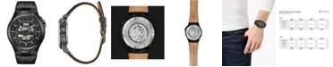 Bulova Men's Automatic Maquina Black Leather Strap Watch 46mm