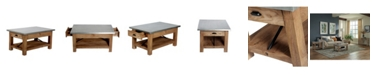 Alaterre Furniture Millwork Wood and Zinc Metal Coffee Table with Shelf