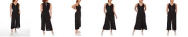 Black Tape Smocked-Waist Culotte Jumpsuit, in Regular & Petite