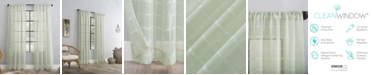 Clean Window Windowpane Plaid Dust Resistant Sheer Curtain Panel Collection