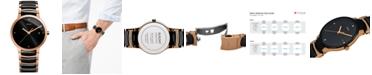 Rado Men's Swiss Centrix Diamond Accent Black Ceramic and Rose Gold-Tone PVD Stainless Steel Bracelet Watch 38mm R30554712