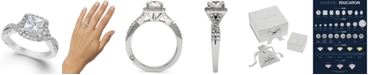Marchesa Twist Halo by Certified Princess Cut Diamond Engagement Ring in 18k White Gold (1-1/3 ct. t.w.), Created for Macy's
