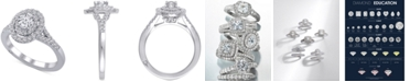 Marchesa Diamond Oval Halo Ring (1 ct. t.w.) in 18k  White Gold