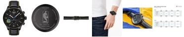 Tissot Men's Swiss Chronograph Chrono XL NBA Golden State Warriors Black Leather Strap Watch 45mm