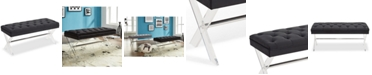 Furniture Joanna Ottoman Bench in Gray Tufted Velvet with Crystal Buttons and Acrylic Legs