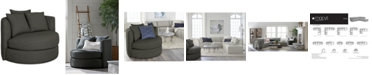 Martha Stewart Collection LIMITED AVAILABILITY Mylie Fabric Swivel Chair,  Created For Macy's