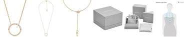 Michael Kors Women's Custom Kors Sterling Silver Pave Ring Starter Necklace