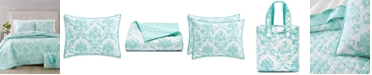 Martha Stewart Collection Distressed Damask 3-Pc. Twin/Twin XL Quilt and Tote Bag Set, Created for Macy's