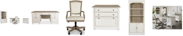 Furniture York Two-Tone Home Office, 4-Pc. Furniture Set (Two-Tone Credenza Desk, Upholstered Desk Chair, Lateral File Cabinet & Bookcase)