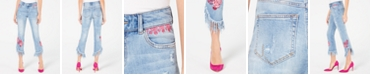 INC International Concepts I.N.C. Petite Rose-Embroidered Fringe Skinny Cropped Jeans, Created for Macy's