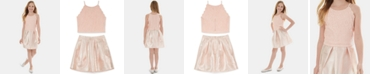 BCX Big Girls 2-Pc. Glitter Lace Top & Foil Skirt Set