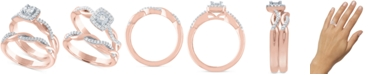 Macy's Diamond Bridal Set (1/4 ct. t.w.) in 14k Rose Gold Over Sterling Silver