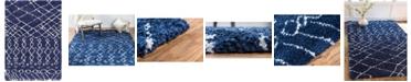 Bridgeport Home Fazil Shag Faz2 Navy Blue 4' x 6' Area Rug