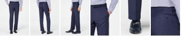 Michael Kors Men's Classic/Regular Fit Airsoft Stretch Blue Flannel Suit Pants
