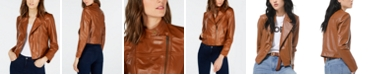 Michael Kors Leather Moto Jacket, Regular & Petite Sizes