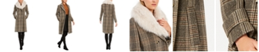 Kenneth Cole Double-Breasted Plaid Coat with Faux-Fur-Collar